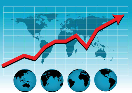 world market: a vector drawing of a sales chart or graph as it relates to the world market