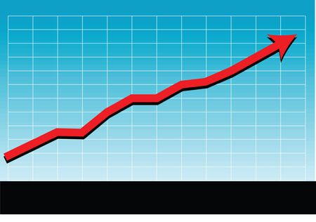 a vector drawing of a sales chart or graph as it relates to a successful market