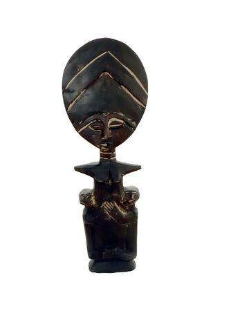分離白背景アフリカ不妊彫刻の写真