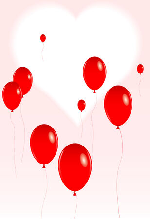 vector illustration of a group of red valentine balloons floating in front of a heart shaped background