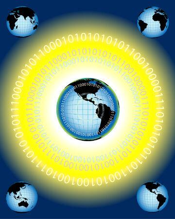 global networking: ilustraci�n vectorial que representa la creaci�n de redes mundiales y de la comunicaci�n Vectores