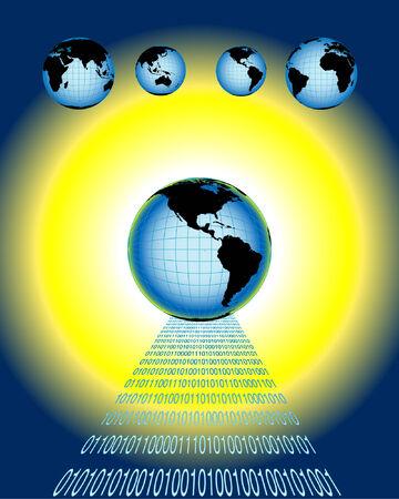 global networking: ilustraci�n del vector que representa establecimiento de una red y la comunicaci�n globales