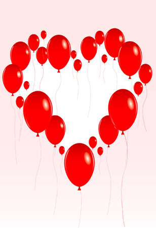 vector illustration of a group of red valentine balloons floating to form the shape of a red heart Illustration