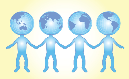 world peace vector illustration of characters representing different parts of the world holding hands to symbolize peace