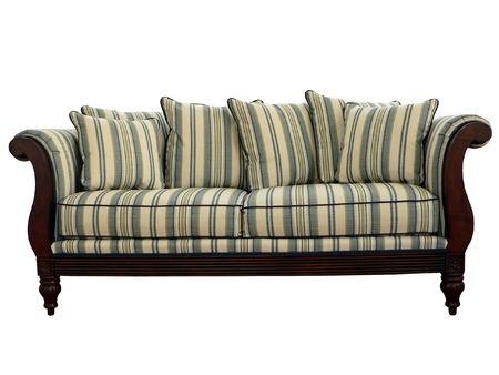 Gestreepte sofa geïsoleerde via knippen pad op een witte achtergrond Stockfoto - 2623385