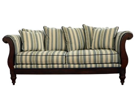 striped sofa isolated via clipping path on a white background