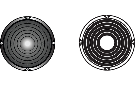 a vector drawing of audio speakers in two drawing styles. Reklamní fotografie - 3132378