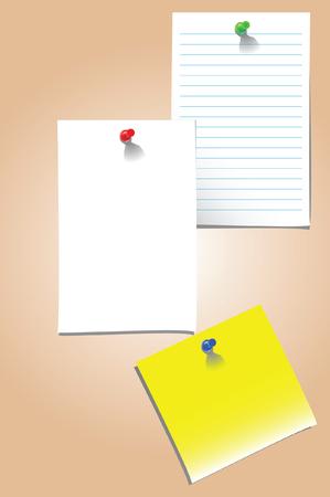 comunicaci�n escrita: ilustraci�n vectorial de tres notas en blanco adjunta a una junta con push pins