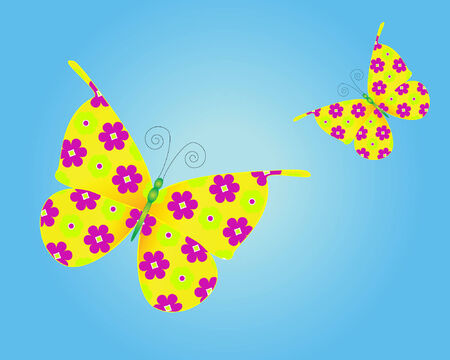 a vector illustration of butterflies with floral patterned wings flying