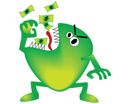 depict: vector illustration of a monster eating money to depict a bad economy