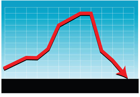 a vector drawing of a sales chart or graph as it relates to a unsuccessful market Vector