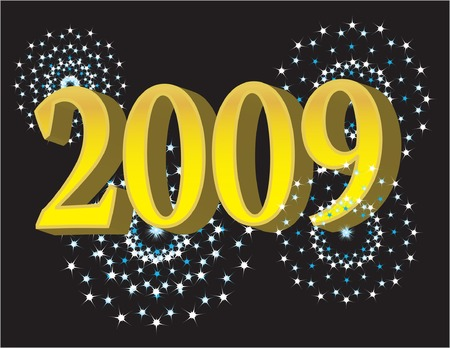 nightime: vector illustration for the year 2009 showcasing fireworks and text of the year Illustration