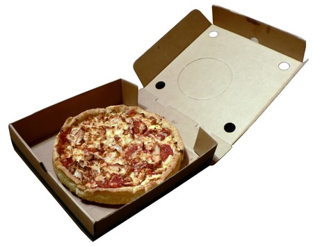 open topped: a deep crust chicken topped pizza in an open carryout box isolated on a white background