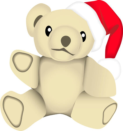 vector drawing of a stuffed bear wearing a santa claus hat. This image is for the christmas holiday season. Vector