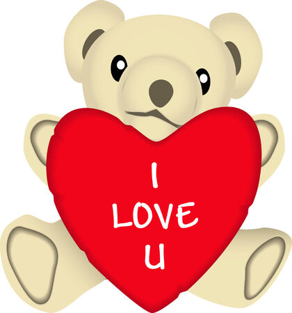 drawing: vector drawing of a stuffed bear holding a valentines heart with a I Love You message.