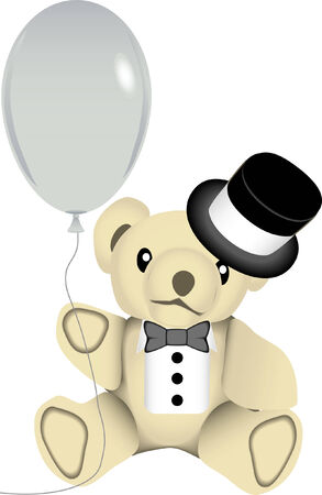 vector drawing of a stuffed bear wearing a black top hat and bow tie while holding a silver balloon. This image is for the new year holiday season. Vector