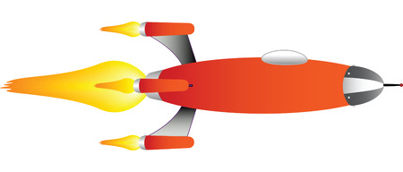 vector drawing of a cartoon style red rocket ship Vector