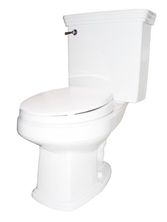 wit toilet geïsoleerd op wit via een clipping path