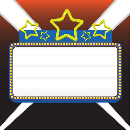 映画マーキー記号ベクトル イラスト、テキストを表示します。