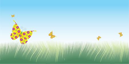 テキストのプレース ホルダーであり形バナー レイアウトで頭上を飛ぶ蝶と緑の草のベクター イラストです。  イラスト・ベクター素材