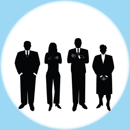 computer drawn vector illustration of a diverse group of business people in various poses. Each image is grouped individually for easy layout manipulation. Illusztráció
