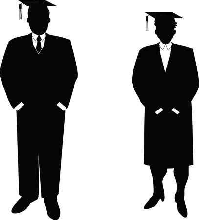 silhouettes: computer drawn vector illustration of business people that are also students. Each image is grouped individually for easy layout manipulation. These are not silhouettes made from photographs!