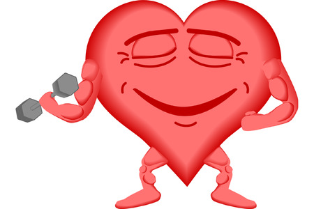 vector illustration of a healthy heart lifting weights