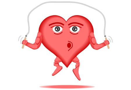 Vector illustratie van een gezond hart een jump rope skipping Stockfoto - 4963015