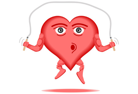 pumping: vector illustration of a healthy heart skipping a jump rope