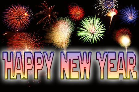 Happy New Year text and fireworks new years eve celebrations