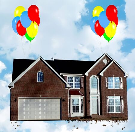 Housing market revival concept photo with composition of balloons lifting a home up in preparation of its open house to attract buyers. The house photo has been altered from its original appearance!