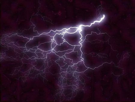 fractal illustration of a lightening bolt reacting with energy flames