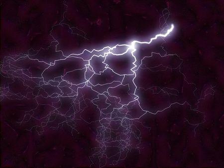 fractale illustratie van een lichter bolt reageren met energie vlammen Stockfoto
