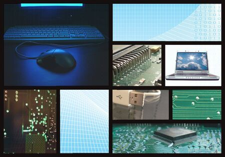a digital and photo collage of computer technology images Stok Fotoğraf