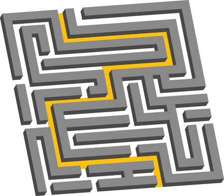 illustration of a three dimensional maze showing the escape route Çizim