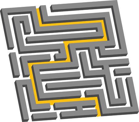 illustration of a three dimensional maze showing the escape route Ilustração