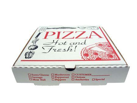Pizza eroptoetezien doos geïsoleerd  Stockfoto - 5905035