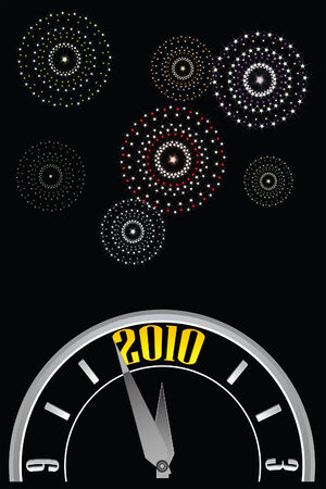 vector illustration of a clock about to strike midnight with star composed fireworks in the night sky celebrating the 2010 new year