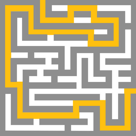 illustration of a editable maze with escape route that can have effects like 3D transformation added to it Stock Illustratie
