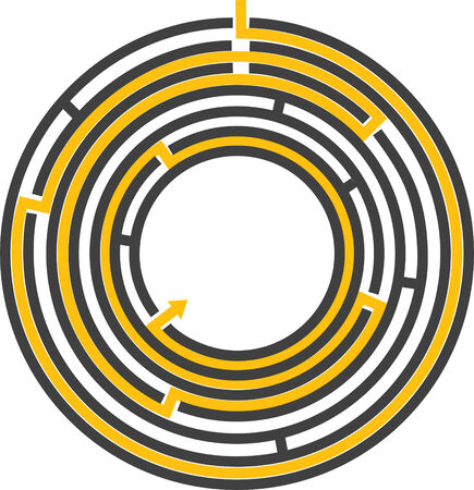 illustration of a editable circular maze with escape route that can have effects like 3D transformation added to it