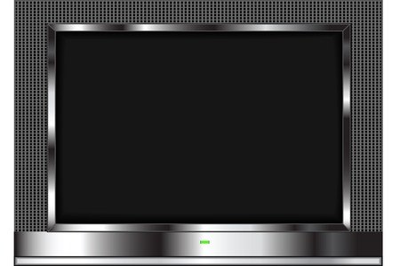 drawing of a lcd flat screen television isolated on a white background.