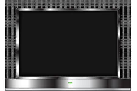 tekening van een LCD-flatscreen televisie geïsoleerd op een witte achtergrond.