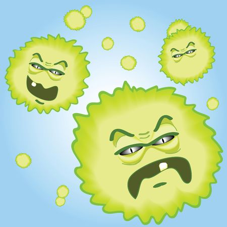 illustration of menacing looking pollen spores floating in the air to cause havoc.