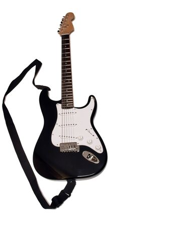 a electric bass guitar that is isolated on a white background