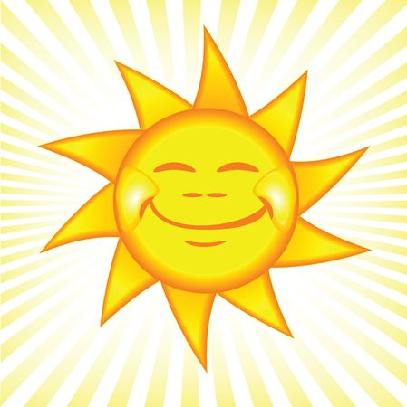cartoon style illustration of a bright and shiny sun Фото со стока