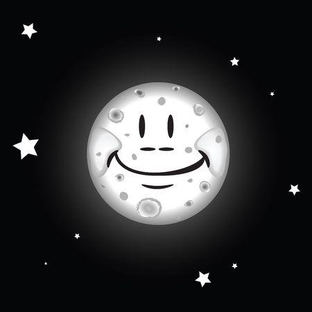 nightime: illustration of the moon beaming iin the night sky