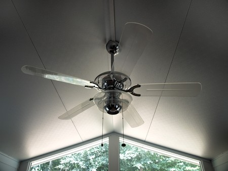 ceiling fan: view of a contemporary style ceiling fan