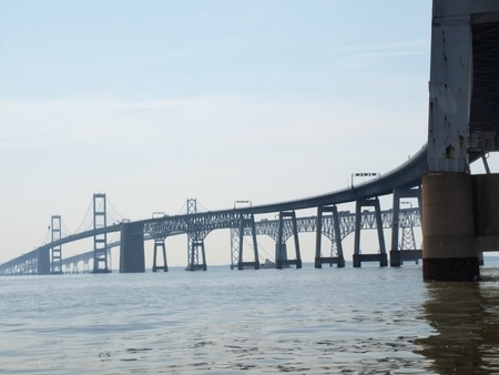 water level view of the Chesapeake Bay Bridge of Maryland Stok Fotoğraf - 7515817