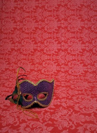 photo of a carnival mask on red decorative fabric that includes copy and cropping space