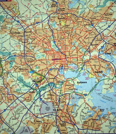 a road map of the Baltimore, Md. metropolitan area